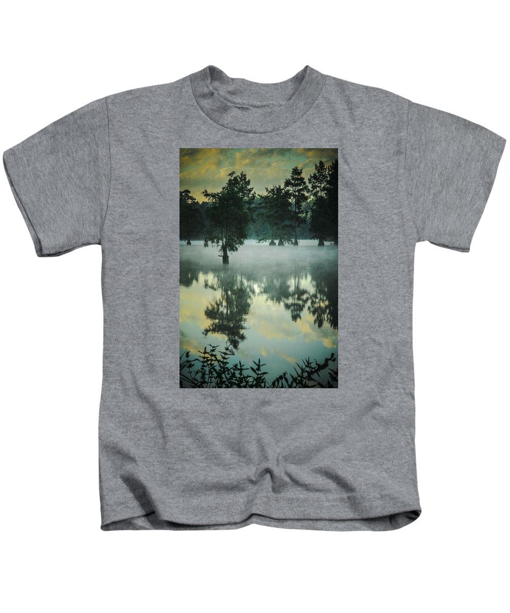 Mist Kids T-Shirt featuring the digital art Trap Pond 5 by Darlene Freas