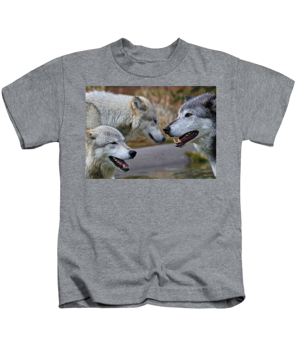 Wolves Kids T-Shirt featuring the photograph Triple Take by Athena Mckinzie