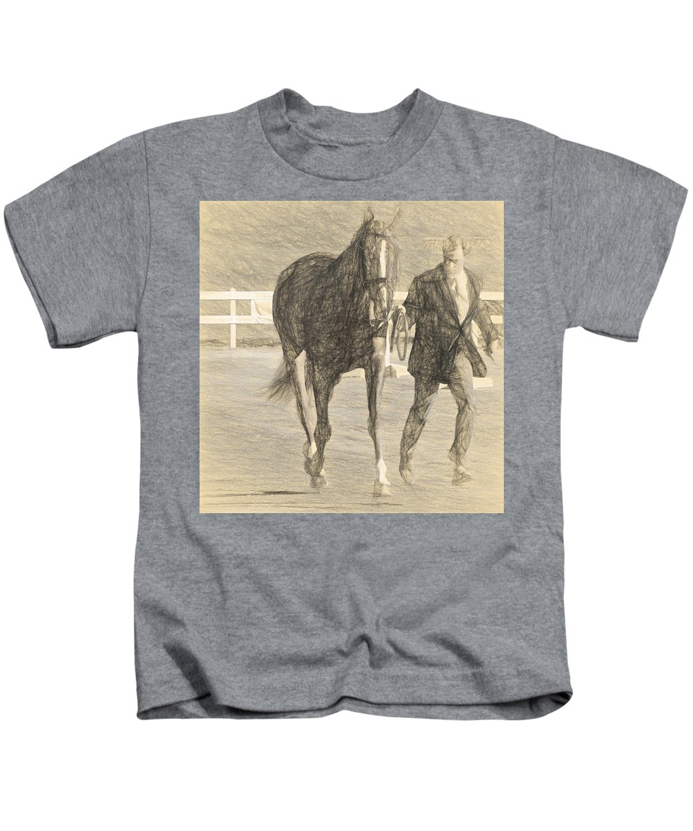 Horse Show Kids T-Shirt featuring the photograph Trot Out Drawn by Alice Gipson