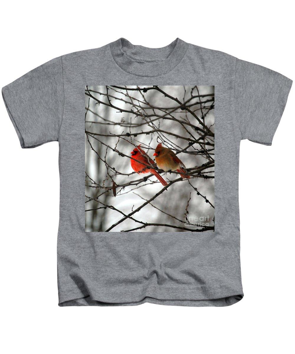 Cardinals Kids T-Shirt featuring the photograph True Love Cardinal by Peggy Franz
