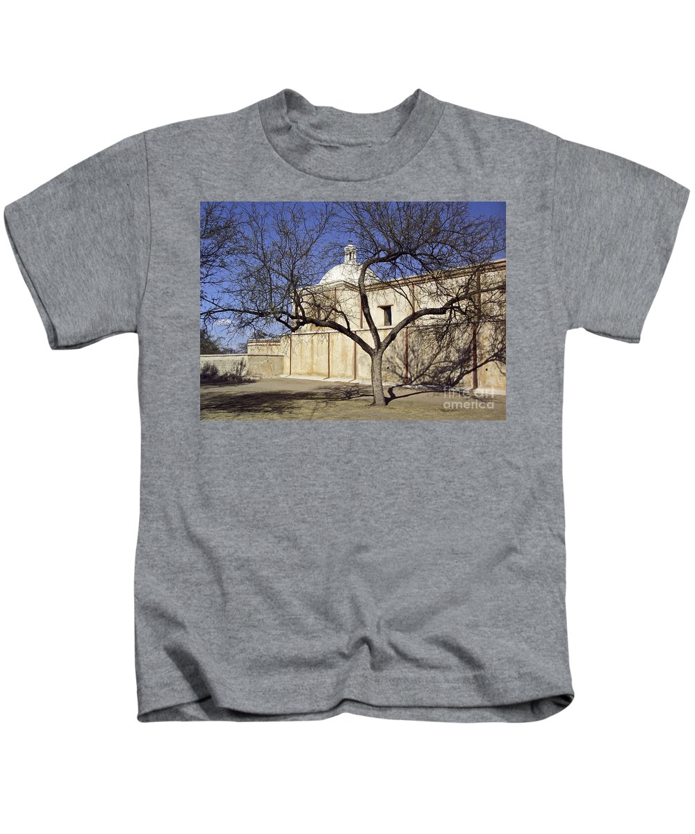 Mission Kids T-Shirt featuring the photograph Tumacacori With Tree by Kathy McClure
