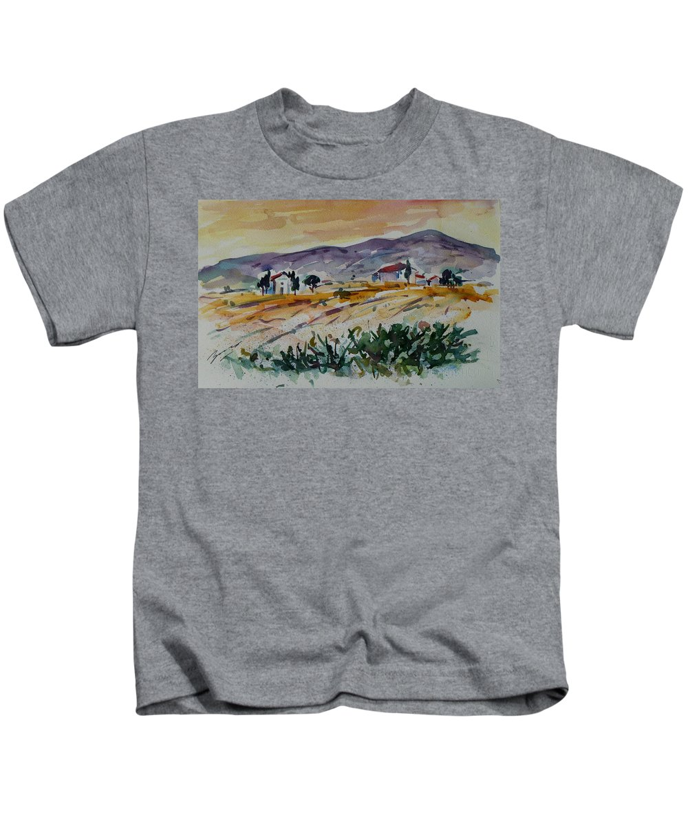 Landscape Kids T-Shirt featuring the painting Tuscany Landscape 1 by Xueling Zou