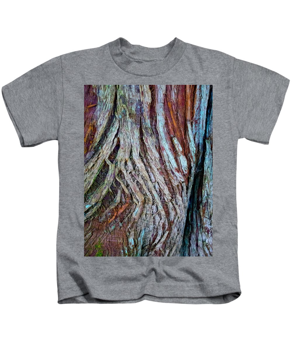 Wood Kids T-Shirt featuring the photograph Twisted Colourful Wood by Hakon Soreide