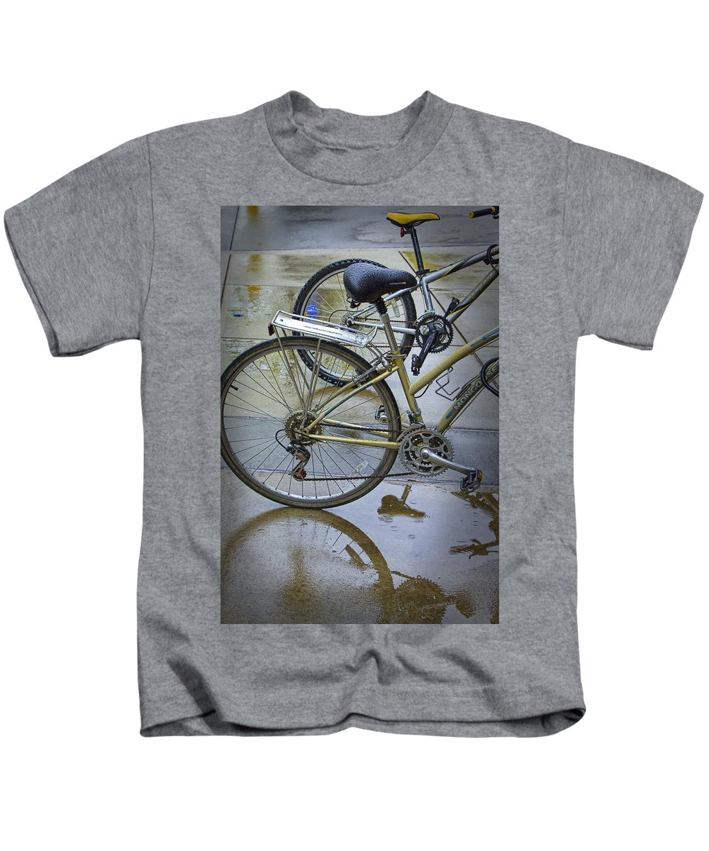 Art Kids T-Shirt featuring the photograph Two Bicycles by Randall Nyhof