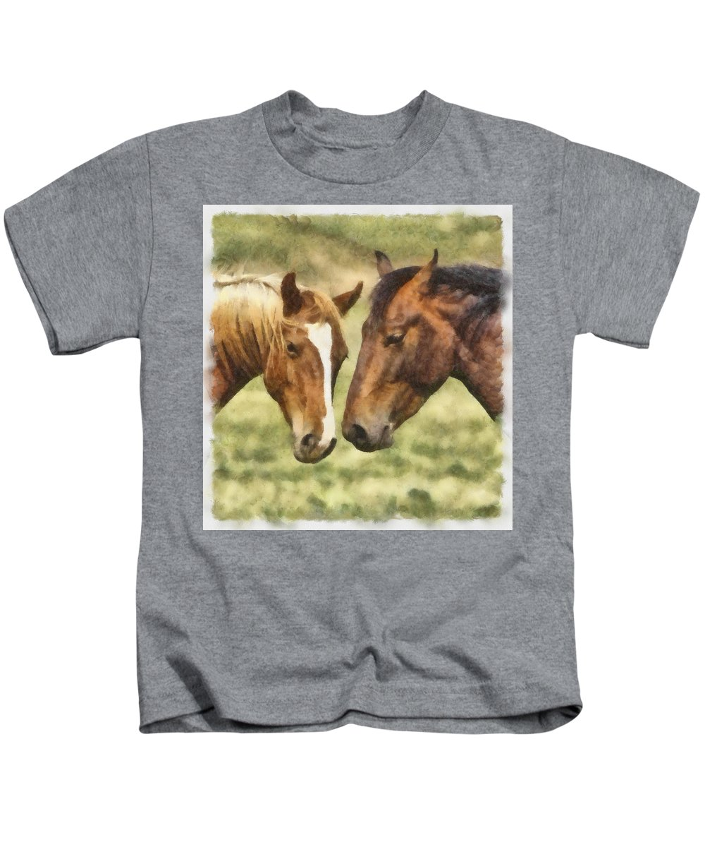 Horse Kids T-Shirt featuring the photograph Two Horses by Ingrid Smith-Johnsen