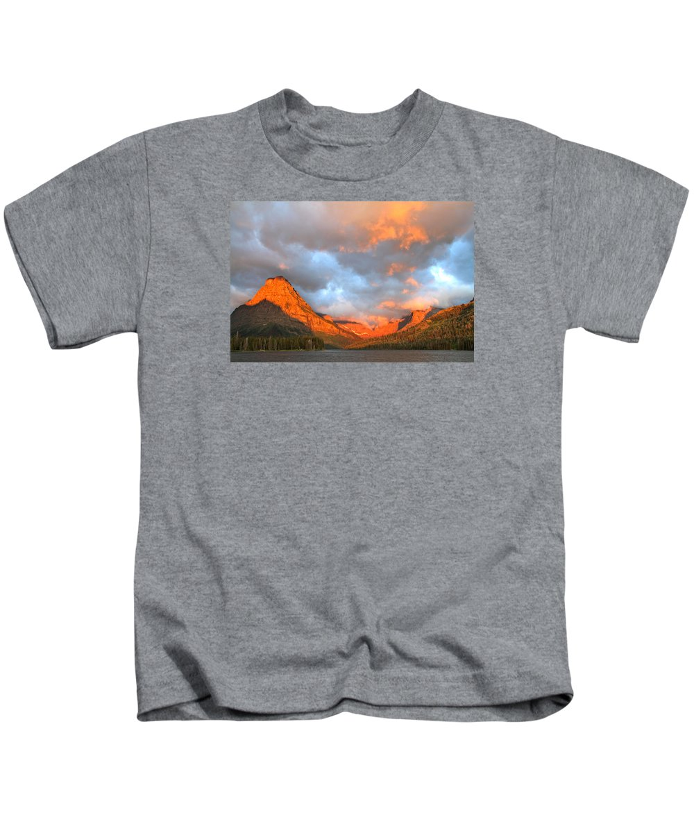 Mountains Kids T-Shirt featuring the photograph Sinopah Mountain And Two Medicine Lake Sunrise Glacier National Park Montana by Ed Riche