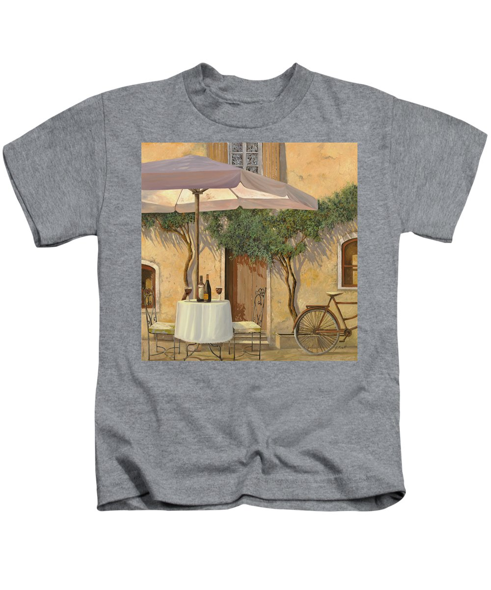 Courtyard Kids T-Shirt featuring the painting Un Ombra In Cortile by Guido Borelli