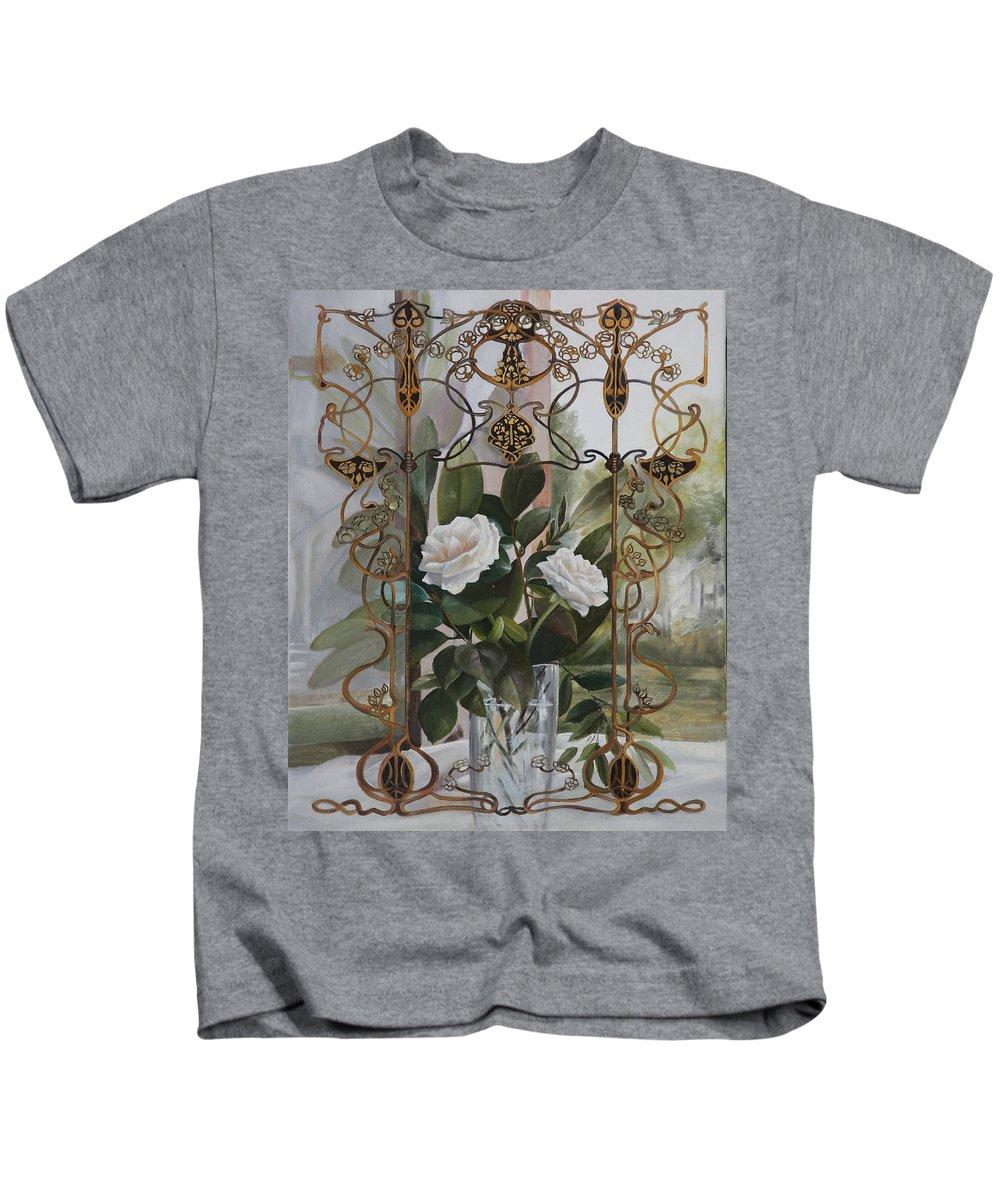 Liberty Glass Kids T-Shirt featuring the painting Una Finestra Liberty by Danka Weitzen