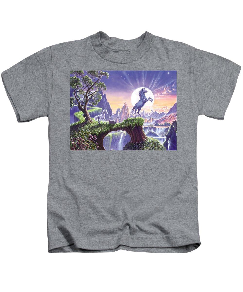 Animals Kids T-Shirt featuring the photograph Unicorn Moon by Steve Crisp