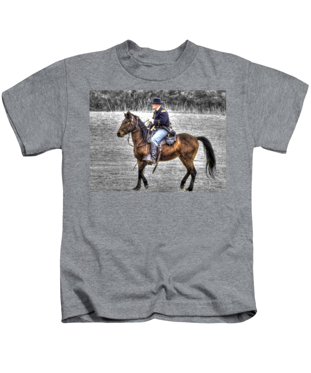 Hdr Kids T-Shirt featuring the photograph Union Horse Officer by John Straton