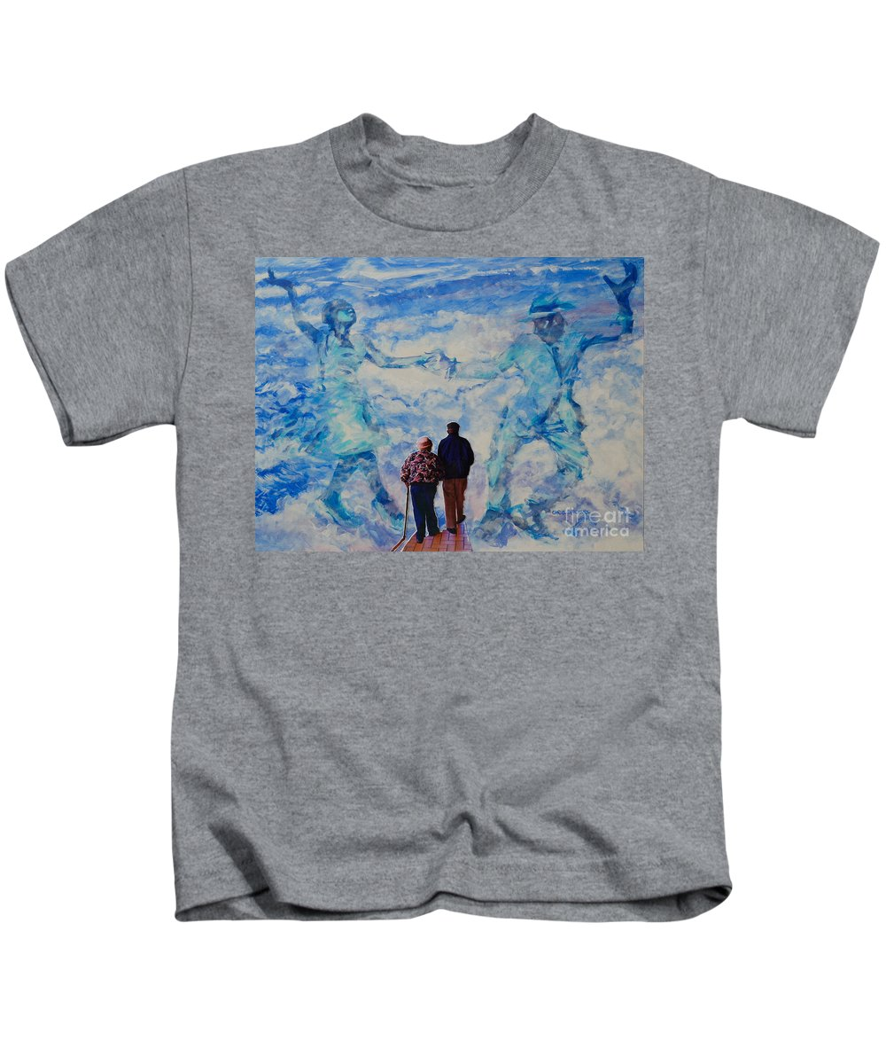 Help Kids T-Shirt featuring the painting Use 2b So Ez - Still We Dance - The Long Good-bye by Charles M Williams