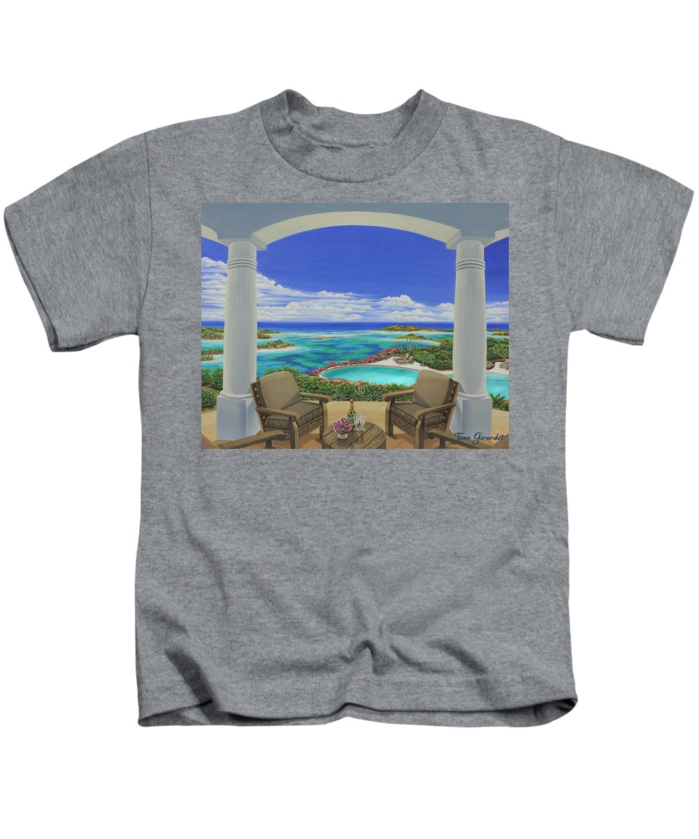 Ocean Kids T-Shirt featuring the painting Vacation View by Jane Girardot