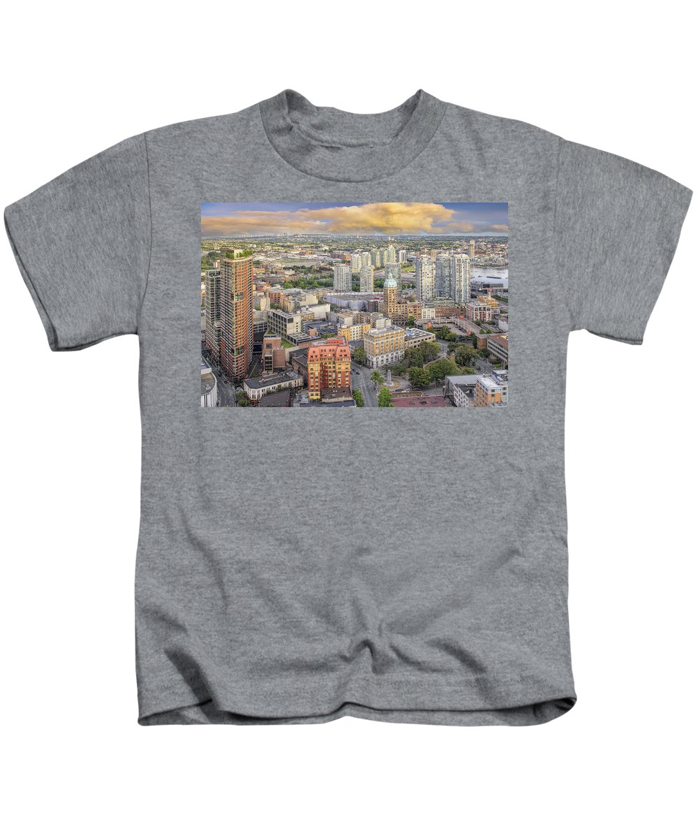Vancouver Kids T-Shirt featuring the photograph Vancouver Bc Cityscape With Victory Square by Jit Lim