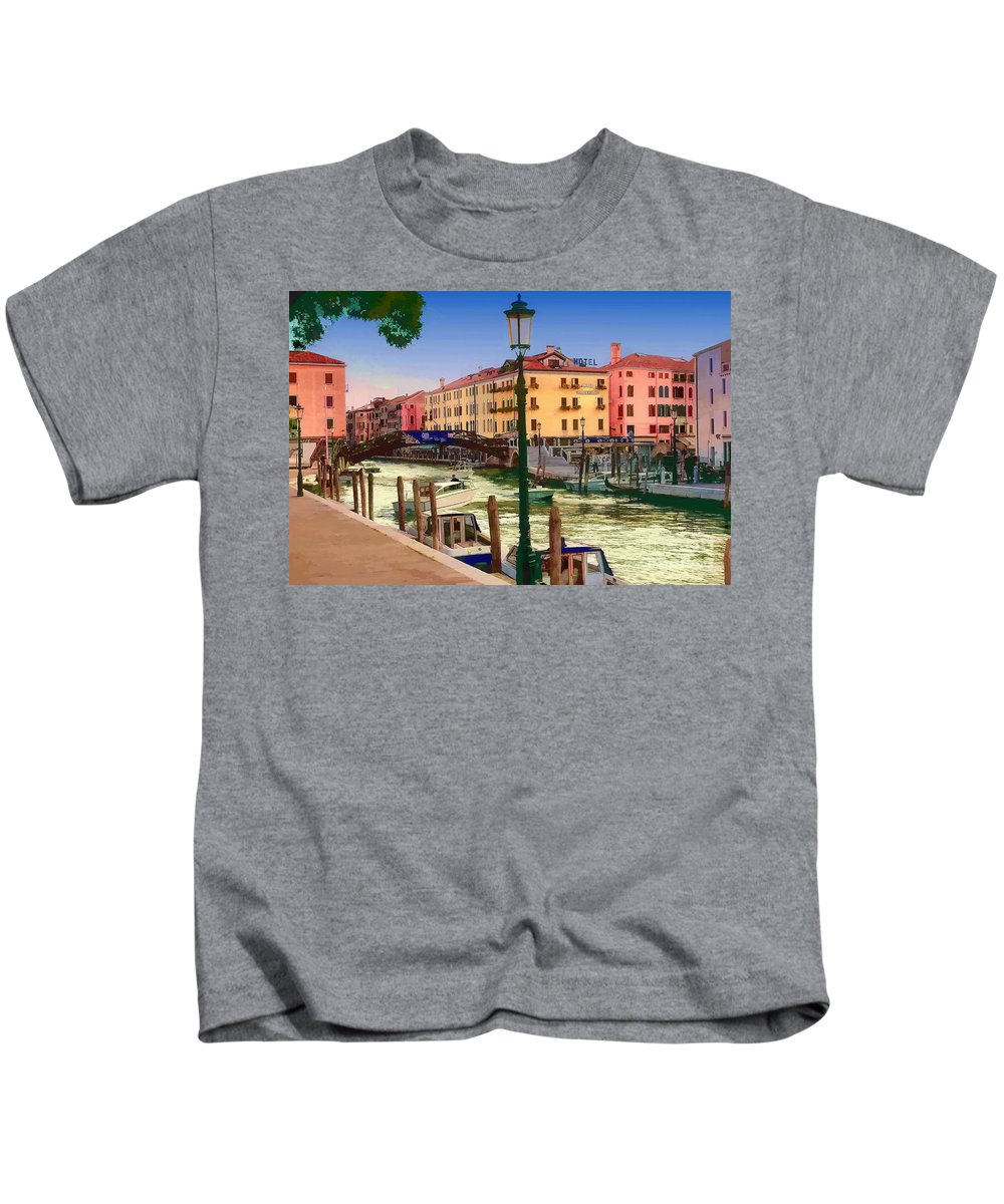 Italy Kids T-Shirt featuring the photograph Venice Canal by Timothy Hacker