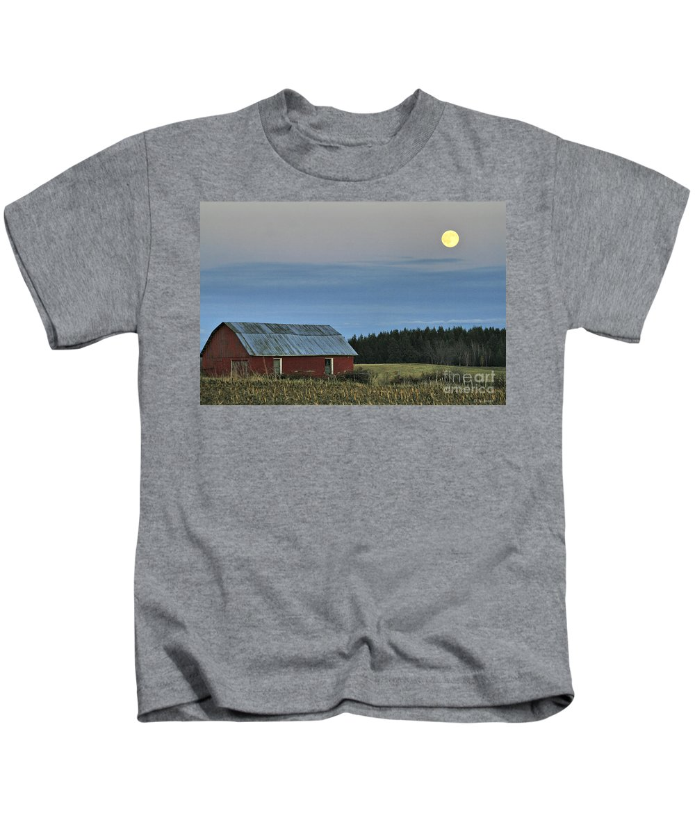 Moon Kids T-Shirt featuring the photograph Vermont Full Moon by Deborah Benoit