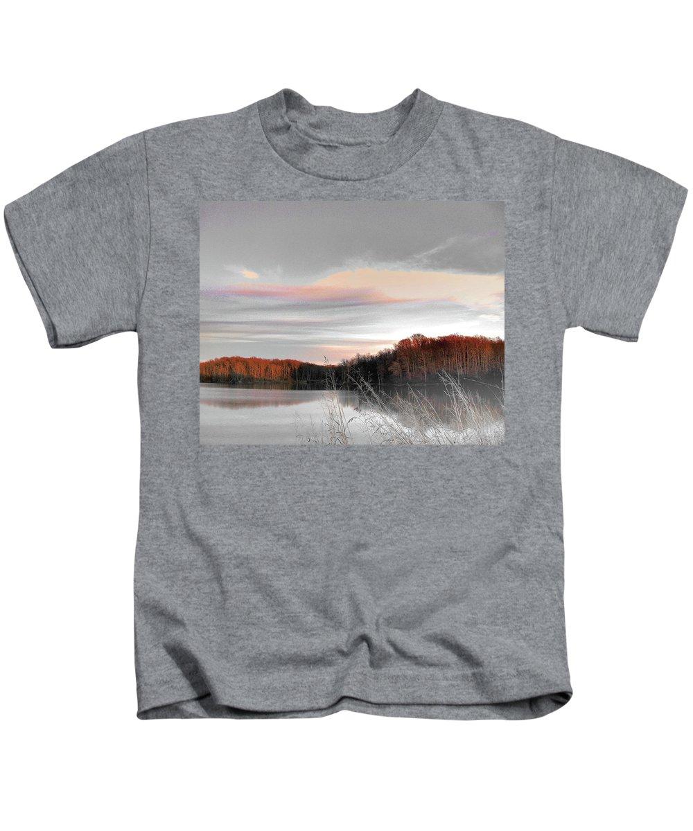 Village Creek State Park Kids T-Shirt featuring the digital art Village Creek Ar Morning by Lizi Beard-Ward