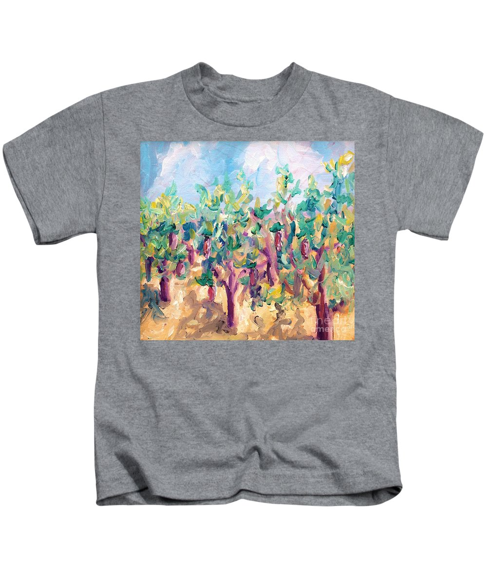 Vineyard Kids T-Shirt featuring the painting Vineyard In The Afternoon Sun by Todd Bandy