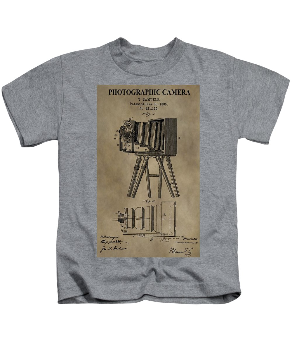 Antique Photographic Camera Patent Kids T-Shirt featuring the mixed media Vintage Photographic Camera Patent by Dan Sproul