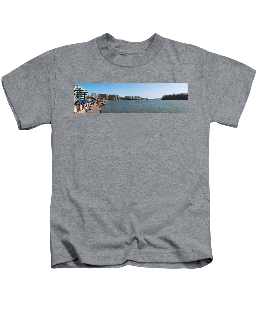 Photography Kids T-Shirt featuring the photograph Visitors At Old Georgetown Waterfront by Panoramic Images