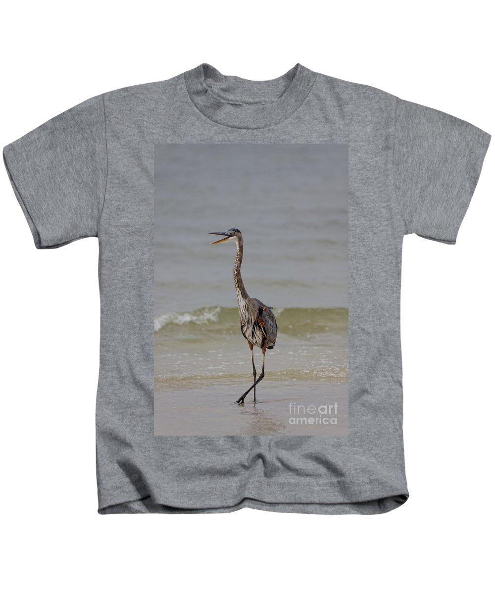 Great Blue Heron Kids T-Shirt featuring the photograph Walk The Talk by Rick Kuperberg Sr
