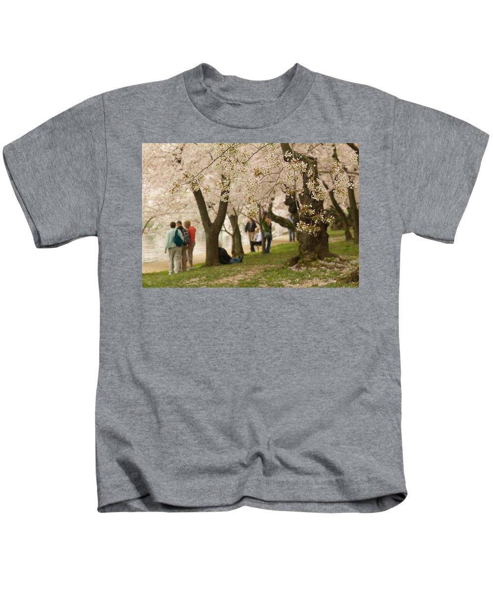 Tidal Basin Kids T-Shirt featuring the photograph Walking Along The Tidal Basin by Leah Palmer