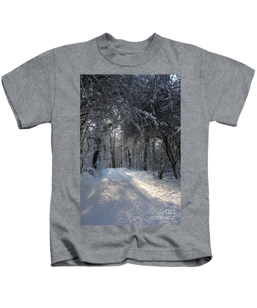 Winter Kids T-Shirt featuring the photograph Walkway In Black And White by Christiane Schulze Art And Photography