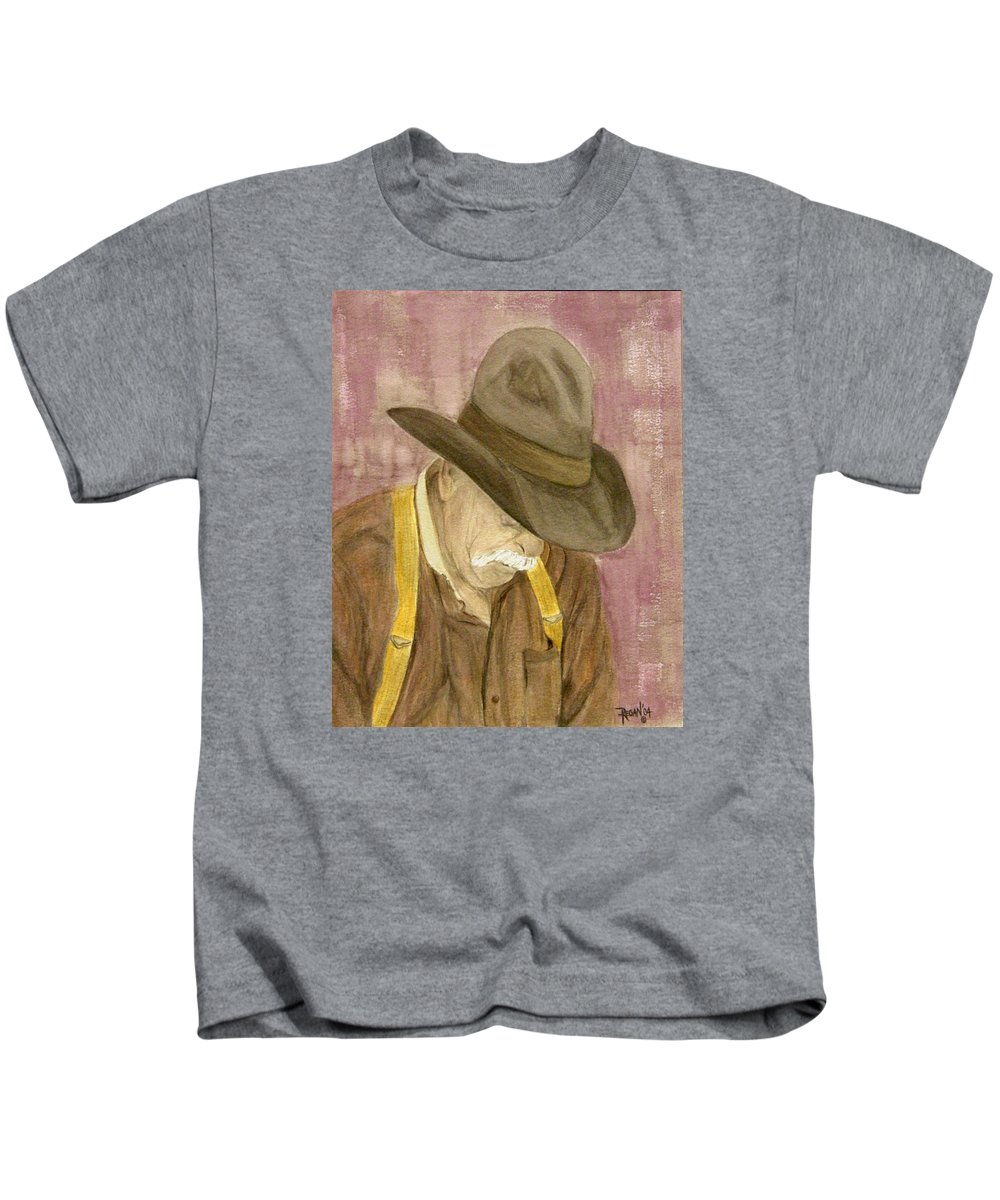 Western Kids T-Shirt featuring the painting Walter by Regan J Smith