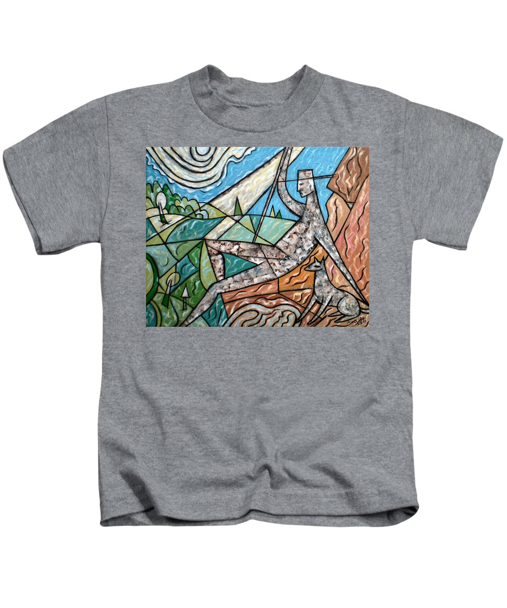 Wanderer With Dog Walking Stick Cane Crook Staff Mountains Canine Man Hat View Landscape Fields Trees Nature Sun Horizon Sky Sitting Seated Resting Contemplation Canvas Acrylic Alone Meditation Meditative Relationship Animal Companionship Together Closeness Kids T-Shirt featuring the painting Wanderer With Dog by Marcio Melo
