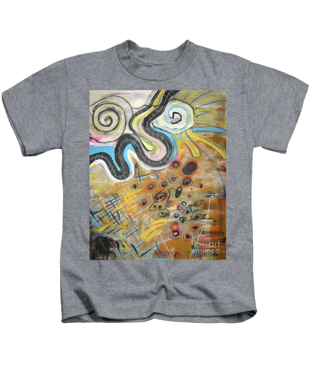 Abstract Kids T-Shirt featuring the painting Wandering In Thought2 Original Abstract Colorful Landscape Painting For Sale Yellow Blue Green by Seon-Jeong Kim