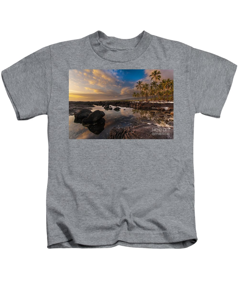 Place Of Refuge Kids T-Shirt featuring the photograph Warm Reflected Place Of Refuge Skies by Mike Reid