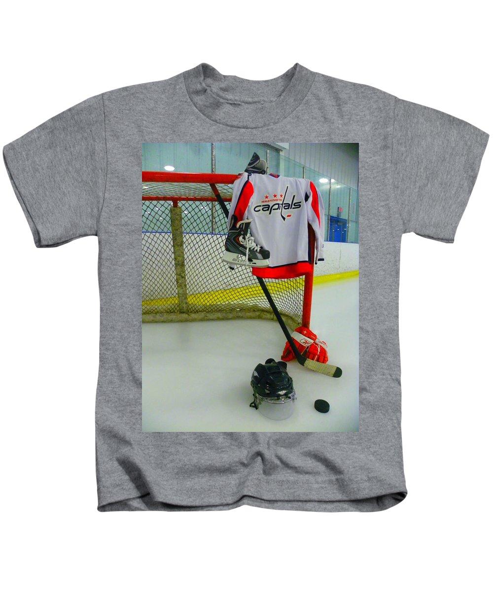 Washington Capitals Kids T-Shirt featuring the photograph Washington Capitals Home Hockey Jersey by Lisa Wooten