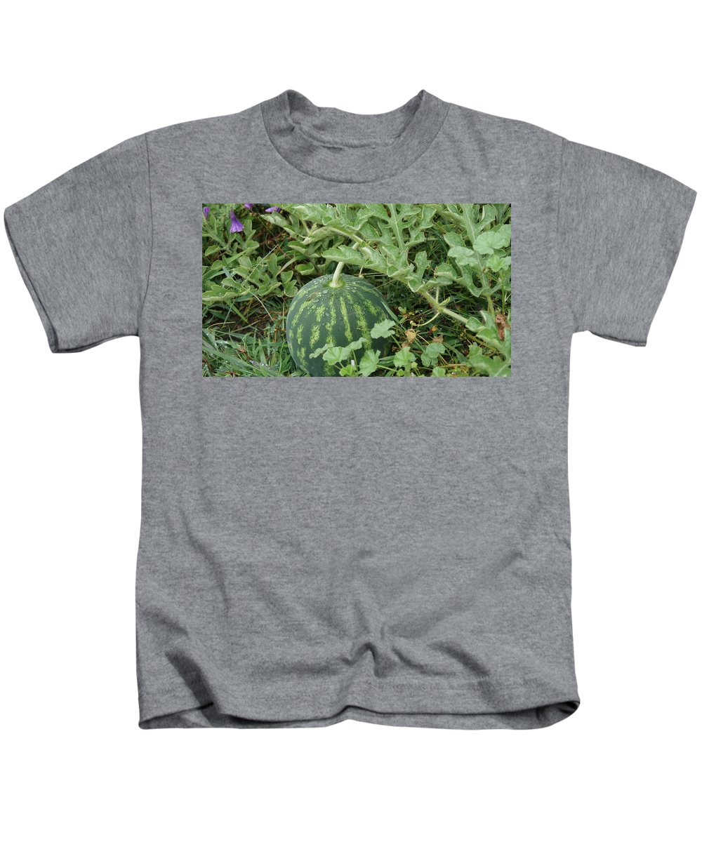 Watermelon Kids T-Shirt featuring the photograph Dew On The Mellon by Rob Luzier