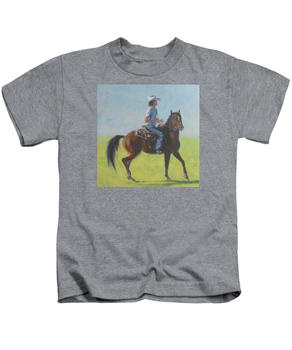 Horse Kids T-Shirt featuring the painting We Save Horses Three by Connie Schaertl