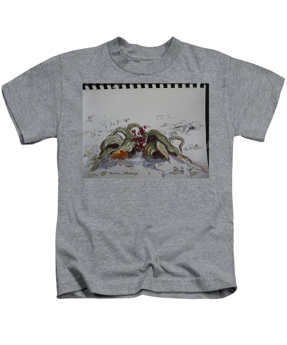 Kids T-Shirt featuring the drawing Welwitchia by Yvonne Ankerman