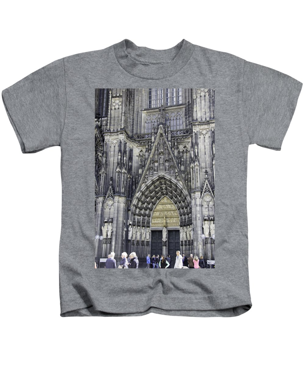 Cologne Cathedral Kids T-Shirt featuring the photograph West Entrance Door Cologne Cathedral by Teresa Mucha