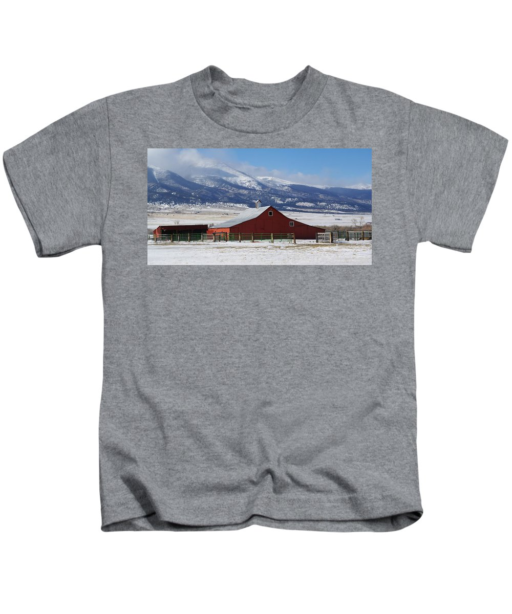 Colorado Photographs Kids T-Shirt featuring the photograph Westcliffe Landmark - The Red Barn by Gary Benson