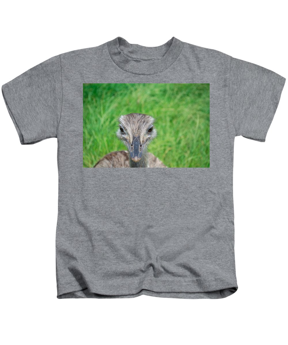 Rhea Kids T-Shirt featuring the photograph What Are You Looking At by Mair Hunt
