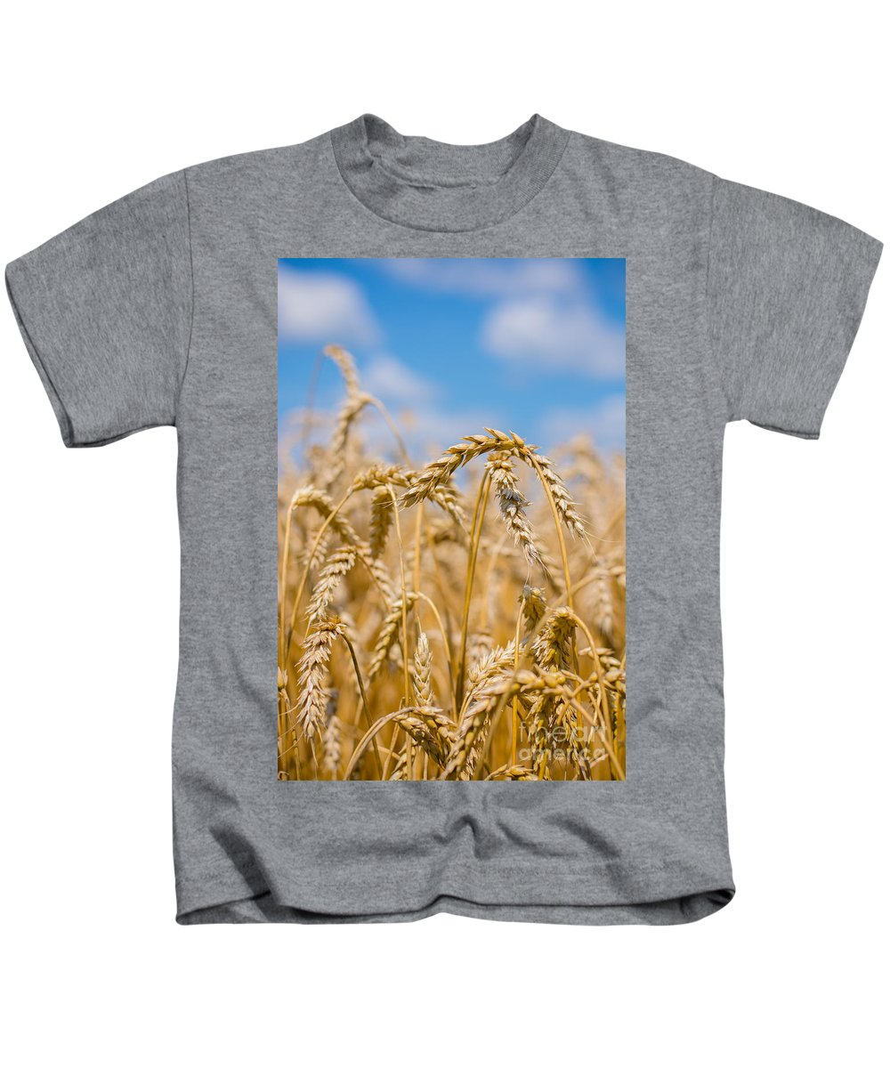 Clouds Kids T-Shirt featuring the photograph Wheat by Cheryl Baxter