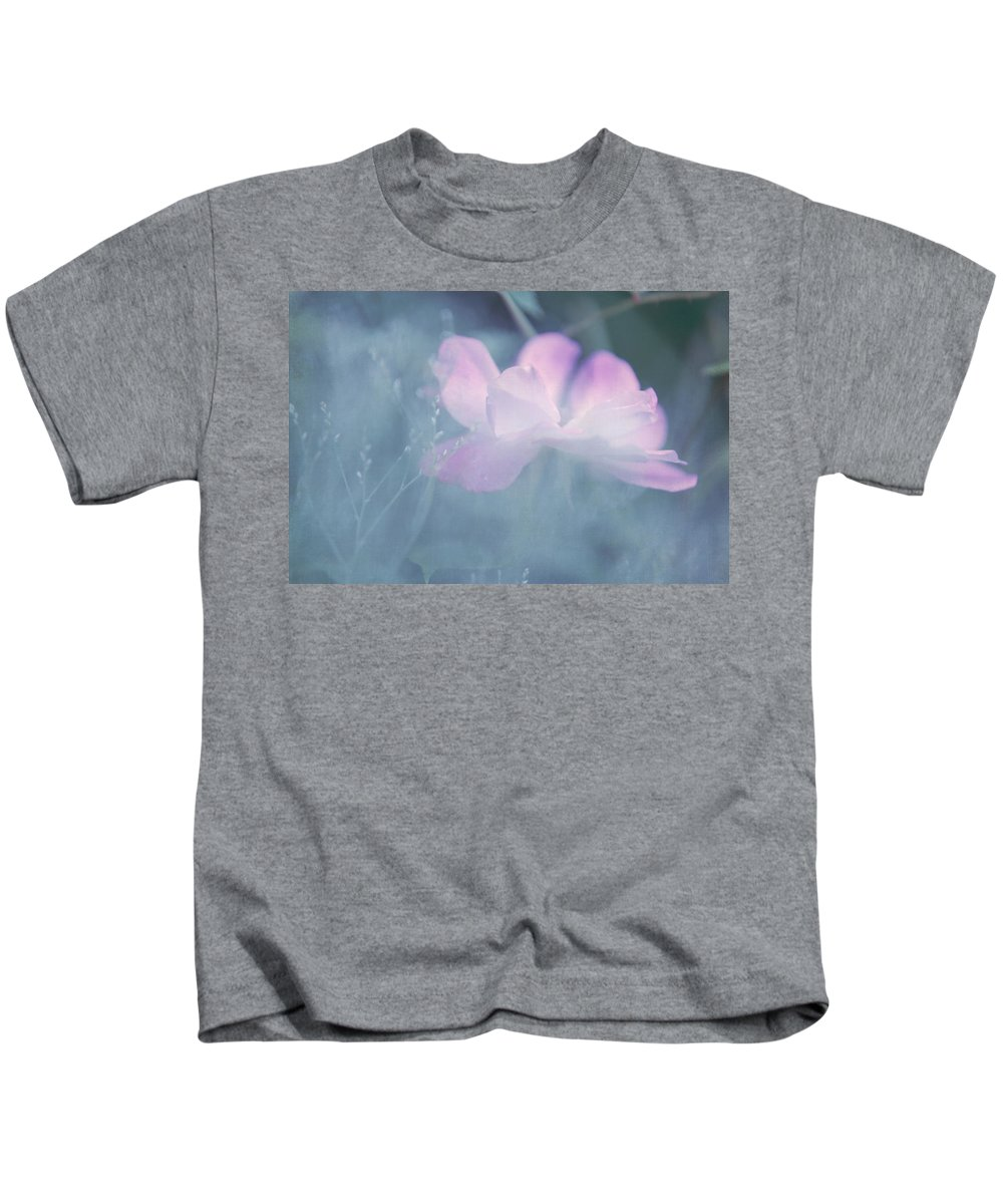 Pink Roses Kids T-Shirt featuring the photograph Whispering Wild Rose by Jenny Rainbow