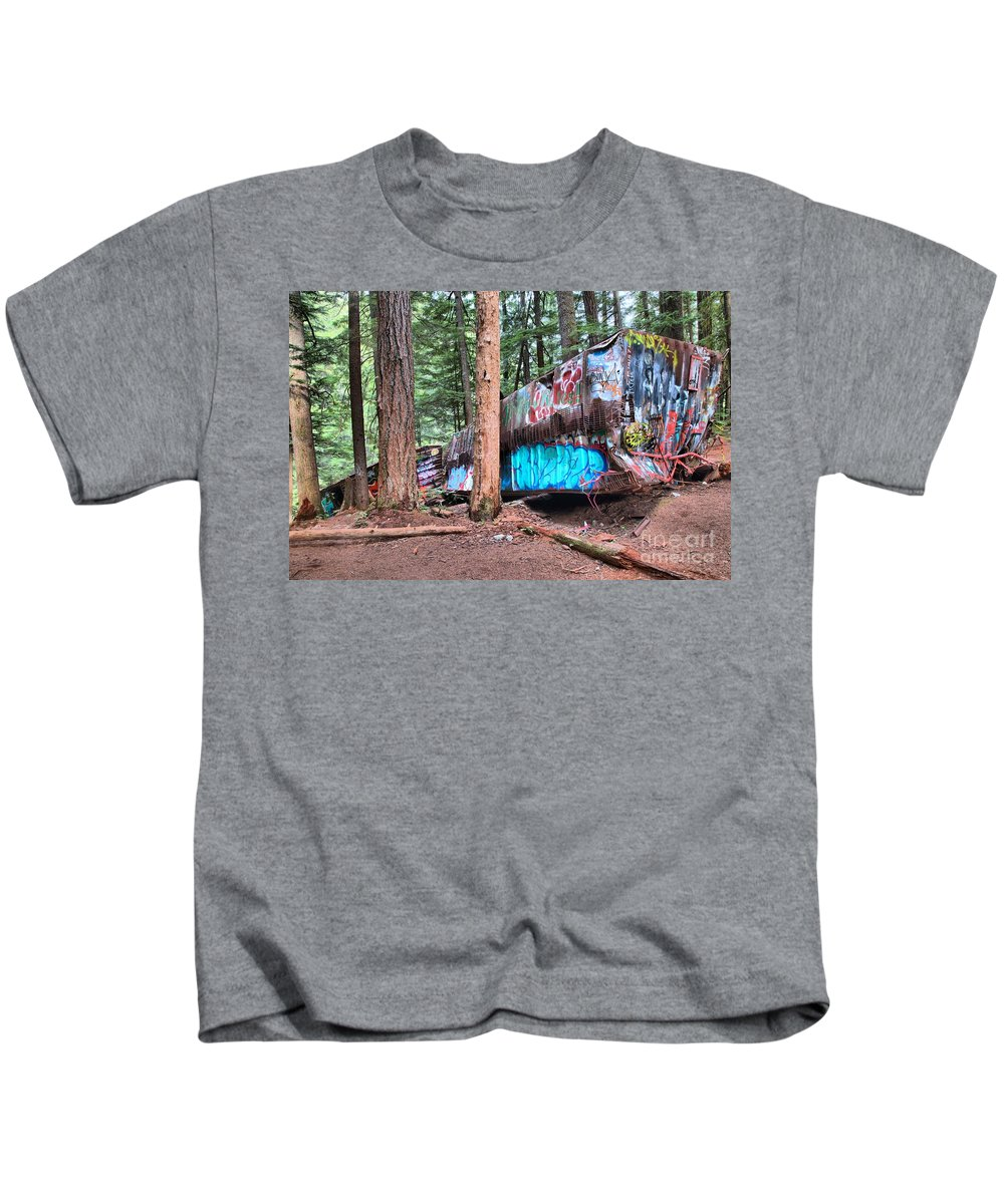 Train Wreck Kids T-Shirt featuring the photograph Whistler Train Wreckage Among The Trees by Adam Jewell