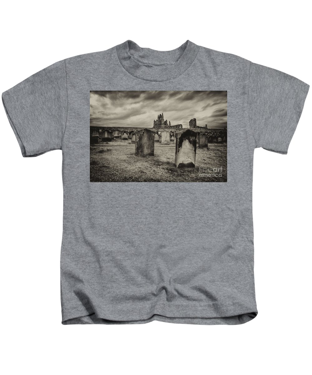 Whitby Kids T-Shirt featuring the photograph Whitby Abbey by Rob Hawkins