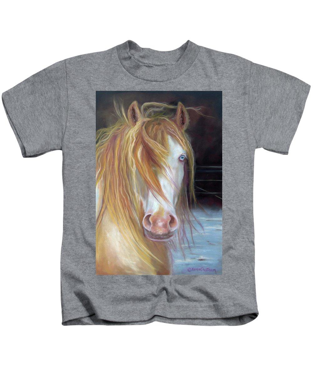 Gypsy Vanner Equine Art Kids T-Shirt featuring the painting White Chocolate Stallion by Karen Kennedy Chatham