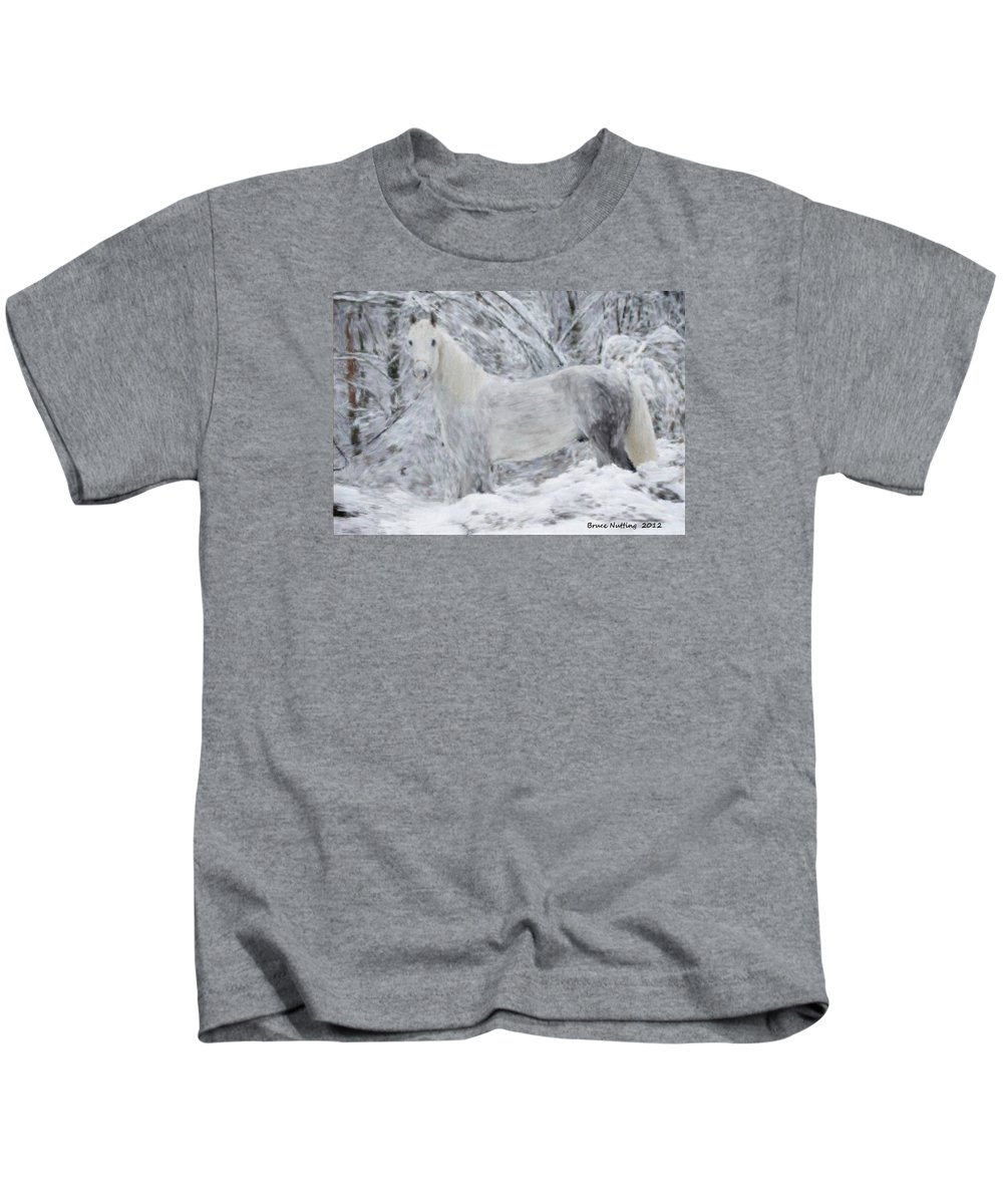 White Kids T-Shirt featuring the painting White Horse In The Snow by Bruce Nutting