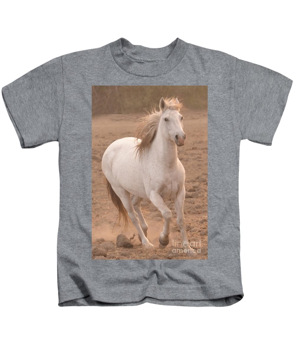 Rtf Ranch Kids T-Shirt featuring the photograph White Mare Approaches Number One Close Up Muted by Heather Kirk