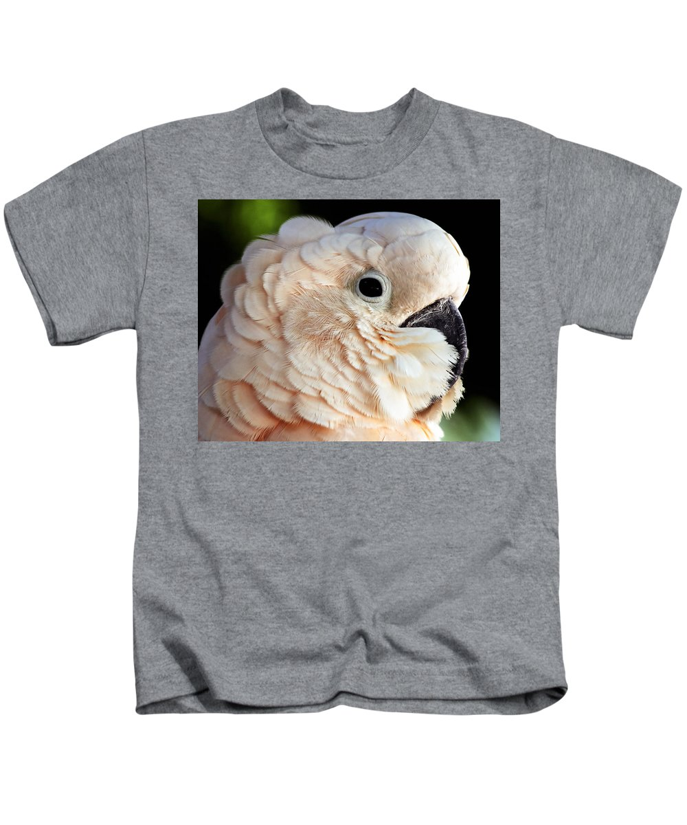 Beak Kids T-Shirt featuring the photograph White Parrot by Ingrid Smith-Johnsen