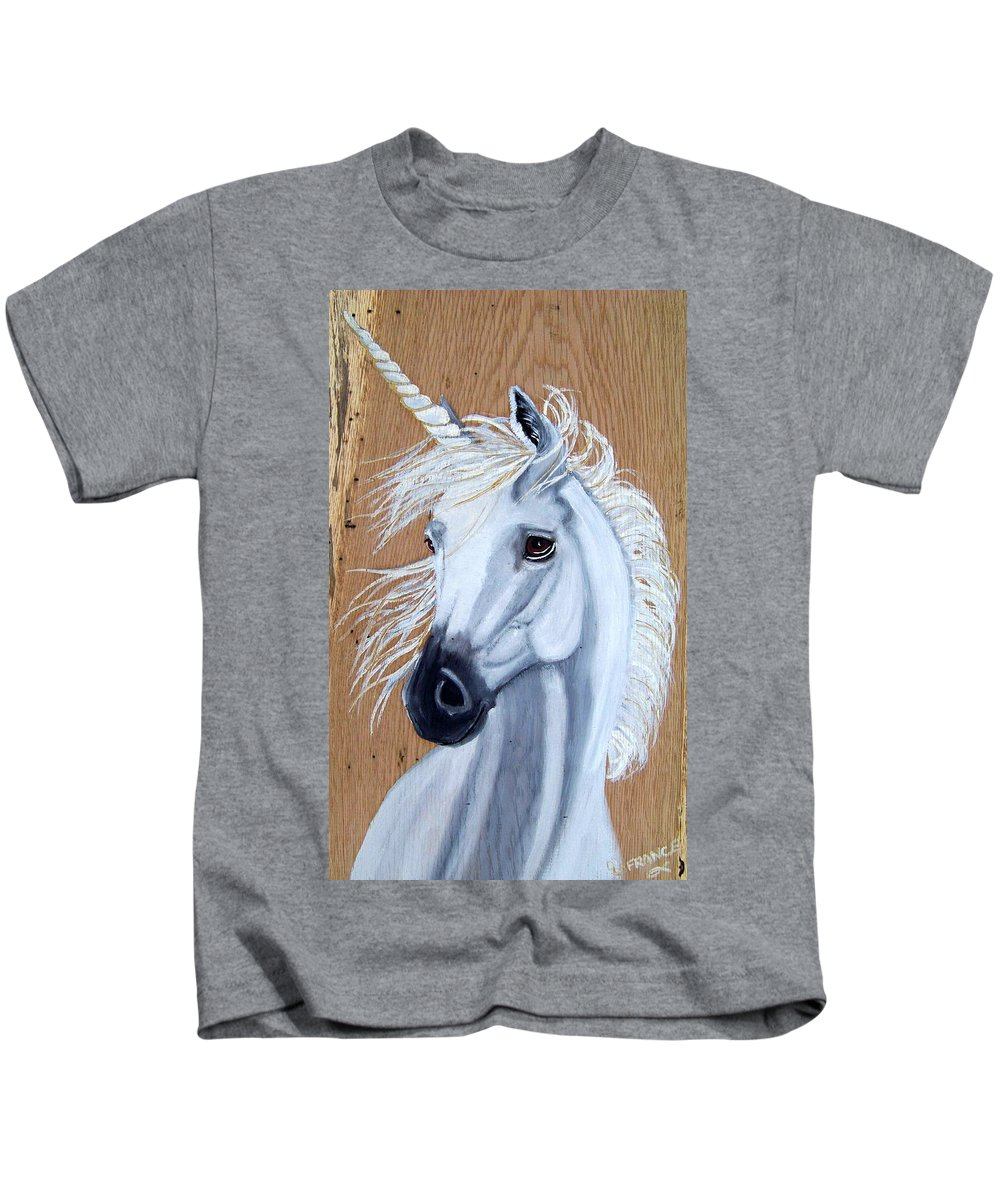 Unicorn Kids T-Shirt featuring the painting White Unicorn On Wood by Debbie LaFrance