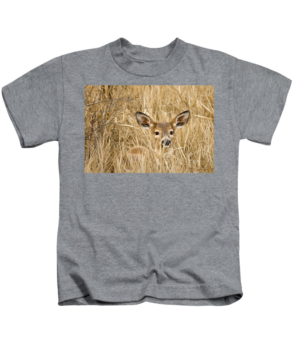 White Tail Kids T-Shirt featuring the photograph Whitetail in Weeds by Paul DeRocker