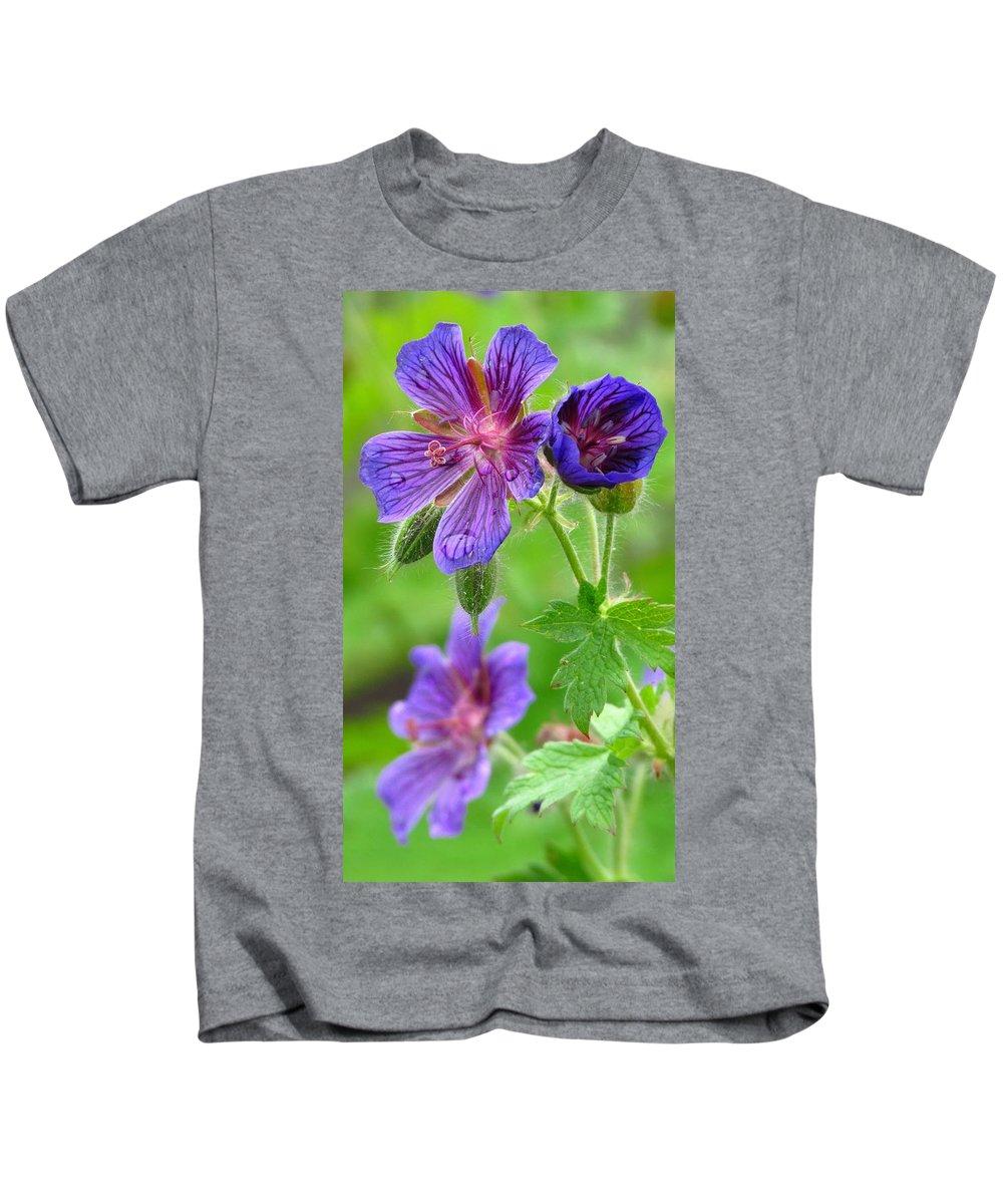 Wild Geranium Kids T-Shirt featuring the photograph Wild Geranium II by Carol Montoya