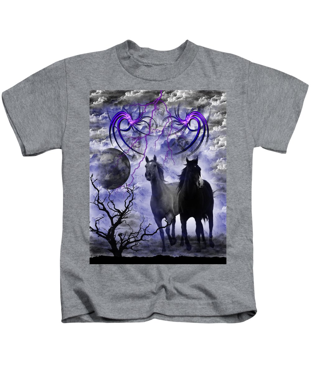 Wild Kids T-Shirt featuring the digital art Wild Horses by Michael Damiani