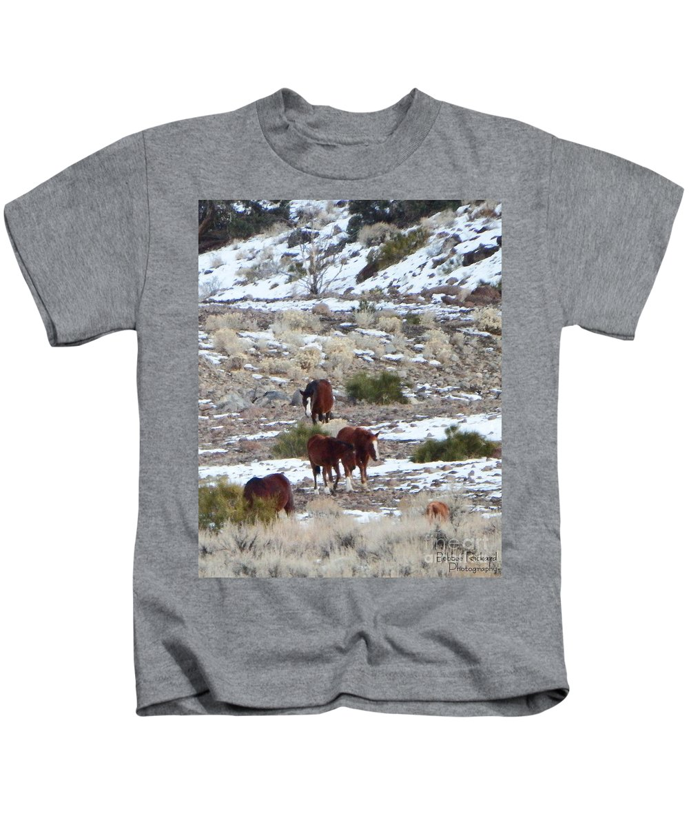 Acrylic Prints Kids T-Shirt featuring the photograph Wild Nevada Mustangs 2 by Bobbee Rickard